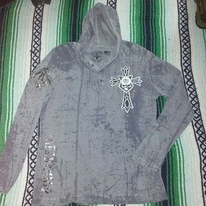 Affliction Medium Gray and Chrome Hoodie!